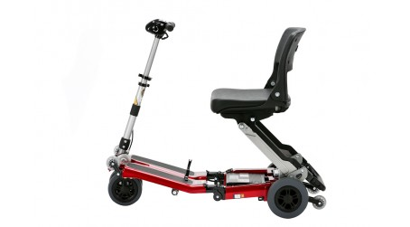 Red Standard folding scooter with lowered seat position