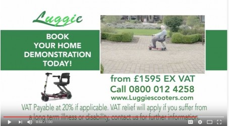 Lightweight Luggie Folding Mobility Travel Scooter small compact to take on trains, planes, cars, coaches, taxi's, cruises holidays